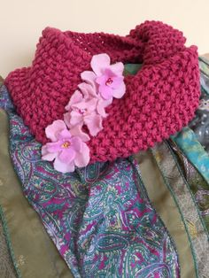 Hand-knit & Hand-felted Floral Embellished Cotton Cowl by GabrielleEloise on Etsy Cowls, Hand Knitting, Baby Car Seats, Scarves, Felt, Floral, Cotton, Etsy, Scarfs