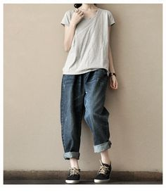 Spring Retro Blue Jeans Cowboy Have Pocket Loose Leisure Cotton Linen Pants -Women's Pants -Women Clothing on Etsy, $43.00