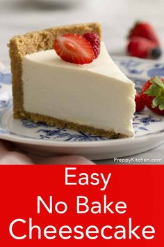 No Bake Cheesecake – Preppy Kitchen This delicious no bake cheesecake is light, creamy and beyond easy to make. You'll like the perfectly sweet filling with a touch of tang and the fragrant crust packed with toasted pecans. No Bake Cheesecake Filling, Baked Cheesecake Recipe, Homemade Cheesecake, Cheesecake Bites, Strawberry Cheesecake, Pumpkin Cheesecake, No Bale Cheesecake, Philadelphia Cheesecake Filling, Woolworth Cheesecake Recipe