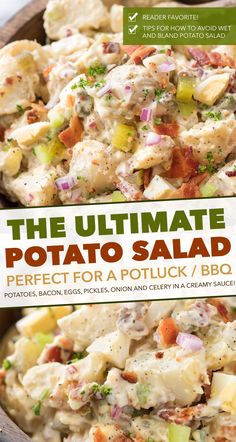 """This Potato Salad is my FAVORITE summertime recipe! Added tips on how to get the perfect potato texture, prevent a """"wet"""" potato salad, and how to add extra zing that will make everyone want the recipe! Best Potato Salad Recipe, Salad With Sweet Potato, Easy Salad Recipes, Potluck Recipes, Side Dish Recipes, Potato Recipes, Healthy Recipes, Ingredients For Potato Salad, Summer Salad Recipes"""