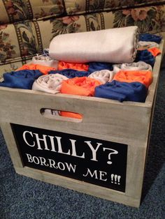 For those outdoor weddings in fall. Now your guests will be warm! I used my wedding colors. Navy, pumpkin(orange) and silver.