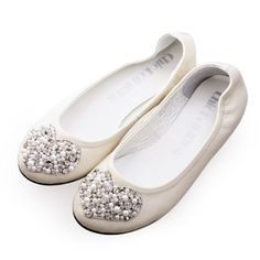 Ivory White Heart Leather Bridal Wedding Ballet Flats Shoes Inexpensive SKU-1090691