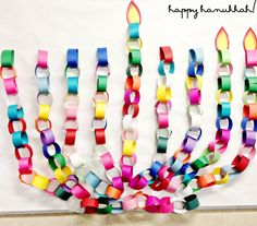 """paper chain menorah Add balloons to the top for an exciting Chanukah """"game show"""" each balloon has a challenge"""