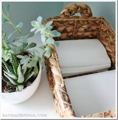 Store dryer sheets in a basket instead! Convenient & pretty!