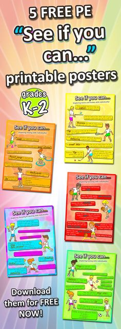 We have 5 FREE PE downloadable posters for you to use in your next sport class - Challenge your students with these individual activities, and print out the posters and put them in your sport hall! Part of the Complete K-2 PE Sport resource pack!
