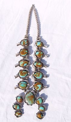 Squash Blossom Necklace Navajo Turquoise Sterling by PhoebesFind, $1650.00