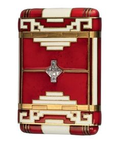 Art Deco Enamel, Gold & Diamond Cigarette Case / ads