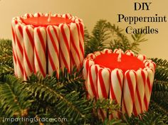 Dollar Store Christmas Decorating: DIY Peppermint Candles