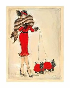 Art deco Illustrations - Page 17 Art Deco Illustration, Illustrations Vintage, Vintage Images, Vintage Art, Vintage Ladies, Up Girl, Dog Art, Lady In Red, Fashion Art