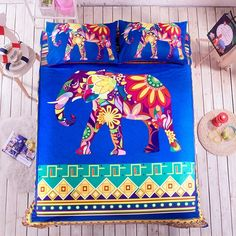 Royal Blue Red and Purple Colorful Elephant Print Bohemian Chic Persian Style Flannel Twin, Full, Queen Size Bedding Sets for Girls and Boys