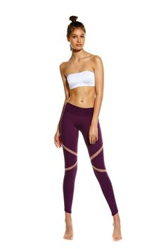 In the must-have colour of the season, the Port De Bras Allegra Legging in Aubergine has a place in every active wardrobe. Designed for all things studio, these full length tights feature a flattering panelled design that works to shape you in all the right places. Look as good you'll feel by teaming with the Port De Bras Letitia Bra in White.  #Fashion #Style #Fitness #Athleisure #Activewear #Yoga #Pilates #Barre
