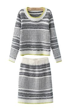 eb5fd579663188 Black and White Knit O-neck Long Sleeves Sweater With Knit Skirt