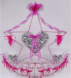 Star Zebra decorated Toasting Glases Set - Quinceanera Style