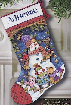 Dimensions Cute Carolers Stocking - Cross Stitch Kit. A snowman and his cuddly friends are here to spread some holiday joy. A Tricia Santry design. Complete kit