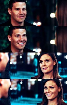 When Bones tells Booth she's pregnant, I love the way they smile at each other.