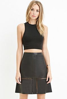 Contemporary Faux Leather Laser-Cut Skirt | Forever 21 - 2000146210