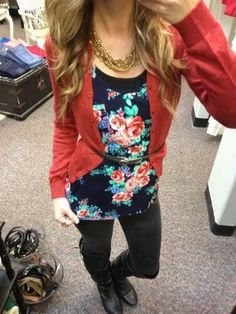 Outfit #45 - Navy Blue Floral Tank - Black Jeans or Almost Black Jeans - Long Gray Cardigan - Black Leather Boots - Black Belt