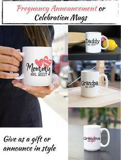 Pregnancy Announcement gifts, coffee mugs, or pregnancy celebration. Gift these at a baby shower or announce your pregnancy in style!