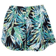 Boohoo Emily Palm Print Ruffle Hem Shorts ($16) ❤ liked on Polyvore featuring shorts, stretch waist shorts, palm print shorts, sequin hot pants, hot shorts and cropped shorts