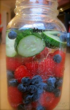 Detox Purify your blood and body with this awesome vitamin water! Created with hydrating coconut water, and fresh cucumber, nutrient rich coconut meat, detoxifying milk thistle and anti-oxidant loaded raspberries and blueberries. Yummy Drinks, Healthy Drinks, Healthy Snacks, Yummy Food, Healthy Recipes, Detox Recipes, Drink Recipes, Healthy Detox, Recipes Dinner