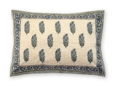 Provence Hand Block Printed Pillow Case #handmade by White Clover. Blooming in blue, on a soft lemon landscape, this pattern is elegantly refined, breathing fresh and cool lightly into the #room. Hand block printed onto crisp, pure cotton, these #pillow cases machine wash and wear beautifully. SHOP :: Home & Furniture :: Bedroom :: White Clover Provence Hand Block Printed Pillow Case - COUNTRY CULTURE