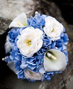 bouquet idea - Calla Lily, Blue Hydrangea, and White Rose