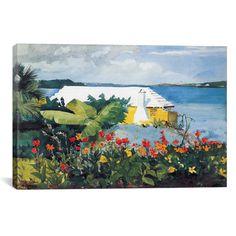 "Flower Garden and Bungalow, Bermuda // Winslow Homer // 1899 (26""W x 18""H x .75""D)"