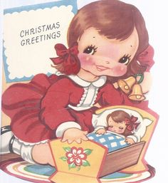 C307 Vintage Christmas Greeting Card by Amer-i-card.  Child's die cut.  Doll