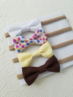Small Bows - Baby Bows - Nylon Headbands - Baby Headband Set - Floral Bow - Headband Set - White Bow - Soft Yellow bow - Newborn - Brown Bow