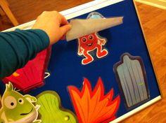 Dadda hälsar på filt-tavla