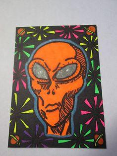 """ACEO """"Glowing Alien"""" Black Light Halloween Horror Artist Card Zentangle Art"""