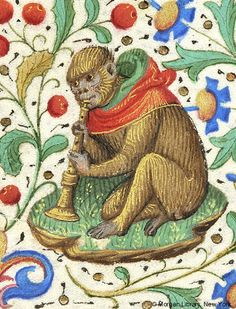 Monkey, wearing hood, seated and playing horn   Book of Hours   France, Paris…