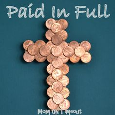 "Wooden crosses are covered in coins – ""Paid In Full"" Easter Craft.  Easter is less than three weeks away and the boys are getting so excited as I take out Easter baskets, plastic eggs, and other fun decorations.  Easter crafts are so much fun and I love to involve Reece and Bryce in making our …"