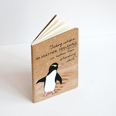 "Hand painted moleskine journal - ""Taking steps, no matter how small, is better than standing still.""  Le penguin."