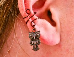 Antiqued Owl Ear Cuff by BarbedLotusDesigns on Etsy, $9.50