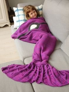 Blankets & Throws   Purple Winter Thicken Anti Pilling Knitted Wrap Sofa Mermaid Blanket - Gamiss