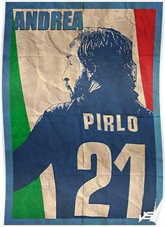 'Andrea Pirlo' Poster by John (Ioannis) Sideris Andrea Pirlo, Messi, Soccer Aid, Soccer Logo, Soccer Sports, Girls Soccer, Uefa Football, Italy Soccer, Intense Games