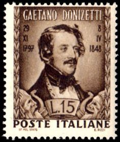 Italy 1948 Donizetti, Domenico Gaetano Maria Donizetti was an Italian composer from Bergamo in Lombardy. Along with Gioachino Rossini and Vincenzo Bellini, Donizetti was a leading composer of the bel canto opera style during the first fifty years of the 19th Century. 1797 to 1848 · Bergamo, Italy