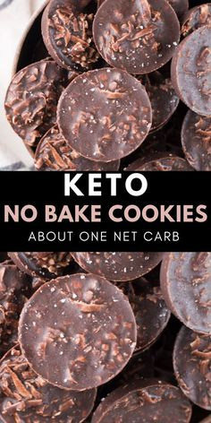 These fudgy Keto No Bake Cookies will remind you of classic no bake chocolate cookies without all the carbs! At just one net carb per cookie these sweet treats won't break your keto diet! Keto No Bake Cookies - Keto Cookies, No Bake Cookies, Cheesecake Cookies, Chip Cookies, Keto Cheesecake, No Bake Cookie Recipe, Cookie Recipes, Cookie Diet, Diabetic Cookies
