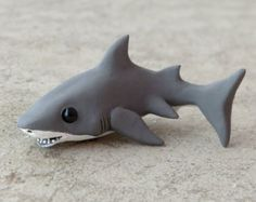 Tiny great white shark - Handmade miniature polymer clay animal figure