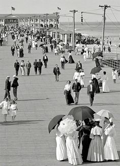 The Jersey Shore circa 1905. Boardwalk at Asbury Park.  It looks almost the same as today!