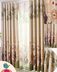 Luxury Poly/Cotton Blend Cartoon Tree and Animal Patterns Blackout Curtains