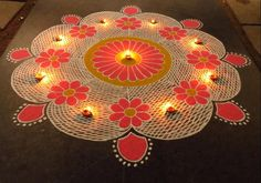 Kolam rangoli designs are made in South India. They are pretty, intricate patterns made duing festivals. Make kolam rangoli designs for Ugadi and Pongal. Indian Rangoli Designs, Rangoli Designs Latest, Rangoli Designs Flower, Small Rangoli Design, Colorful Rangoli Designs, Flower Rangoli, Beautiful Rangoli Designs, Kolam Designs, Mandala Design