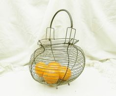 Antique French Wire ware Egg Basket / French Country Décor / Cottage Décor by VintageDecorFrancais on Etsy