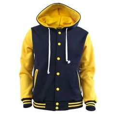 Yellow and Navy Blue Varsity Jacket Baseball Jacket Men, Varsity Letterman Jackets, Mens Sweatshirts, Hoodies, Yellow Hoodie, Cotton Jacket, Casual T Shirts, Sports Shirts, Hoodie Jacket