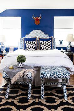 The Glam Pad: Meredith Miller Style & Design. Bunte Schlafzimmer und Fliese schlafzimmer bank.   http://wohn-designtrend.de/
