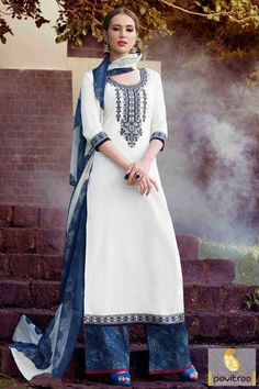 Fetch a comfy and fancy look with blue off white cotton palazzo salwar suit online with discount offer prices in Surat India store. This casual pakistani salwar suit is combination off most trendy blue and off white color. Shop this amazing salwar suit now. #salwarsuit, #casualsalwarsuit more: http://www.pavitraa.in/store/baby-girls-dresses/