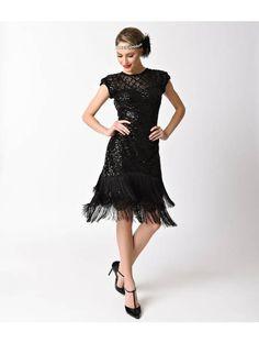 bc1ac88fa77c3a Unique Vintage Black Sequin & Beige Fringe Flapper New Year's Eve Dress. 20er  Jahre ModeFlapper-kleid ...