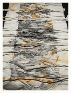 how to dye fabric with rust art by Laurie Brooks - I love this piece. Wish I could see it hanging instead of this way. S