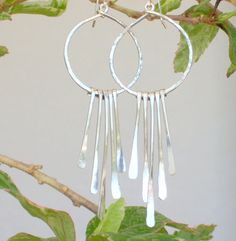 Sterling Silver Hammered Hoops with Long Silver by GardenOnTheMesa $35